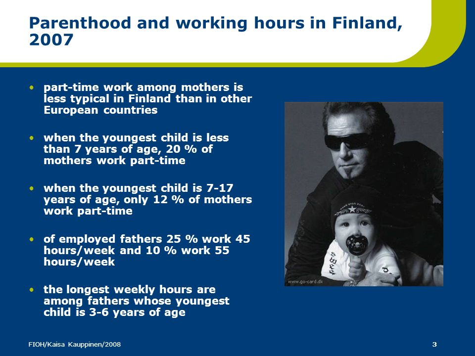 Parenthood and working hours in Finland, 2007