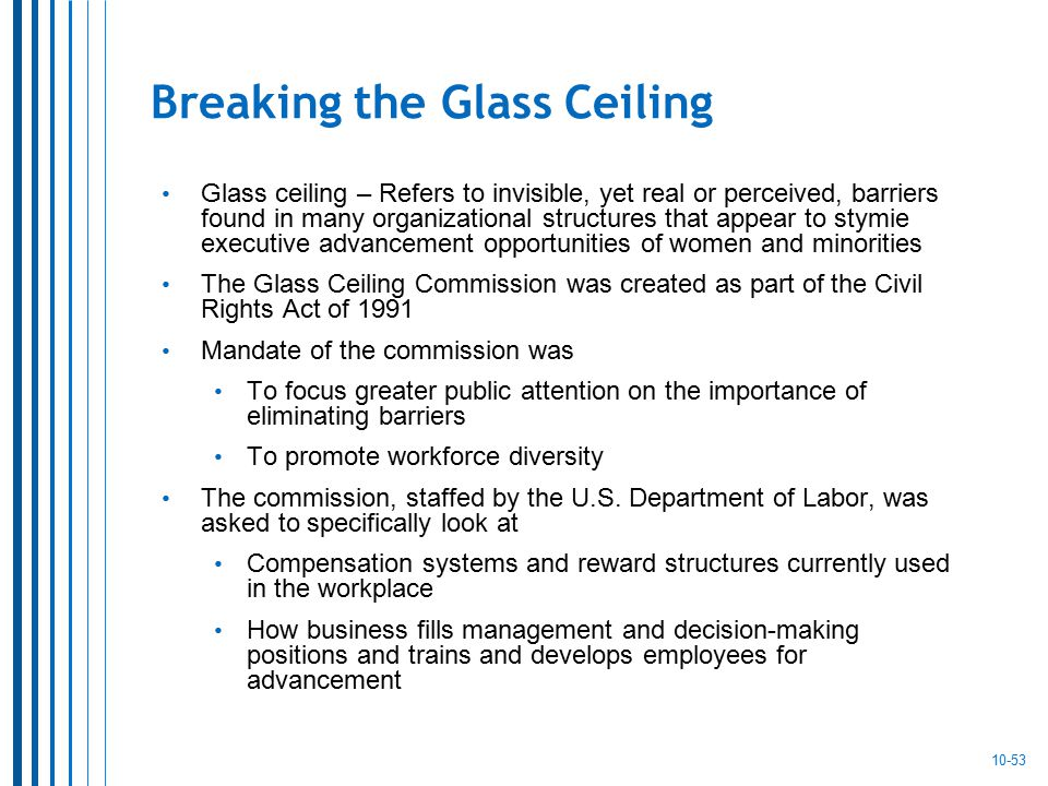 a history of the glass ceiling commission barrier in organizations Barriers to organizational project management a glass ceiling is an invisible barrier that prevents recommendations of the federal glass ceiling commission.