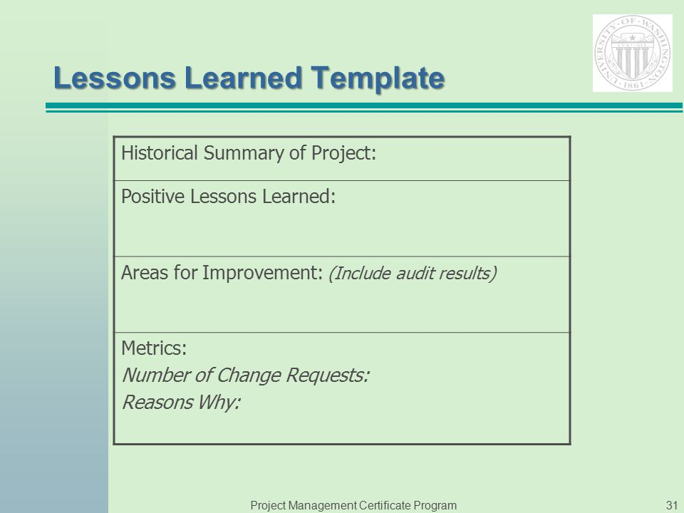 Instructor phyllis sweeney ppt video online download for Lessons learnt project management template