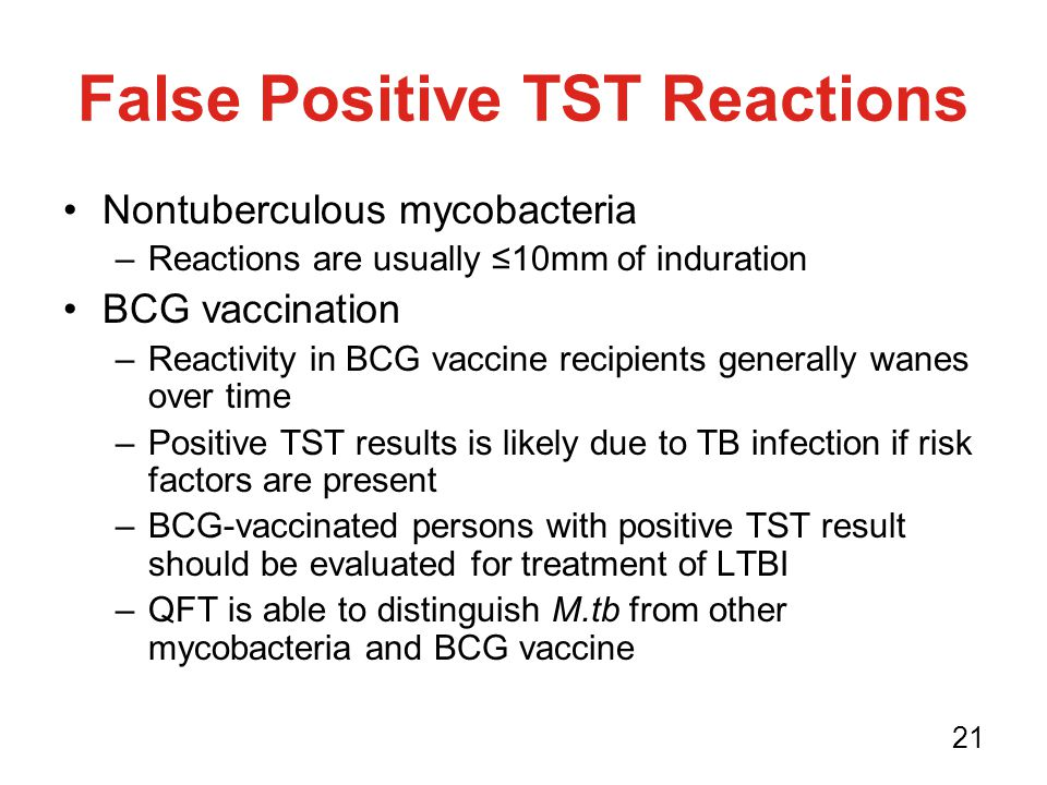 positive and negative reactions to the If you don't have a reaction, your test is negative and you don't have  if you've  had a positive tb skin test in the past, you'll probably have a.