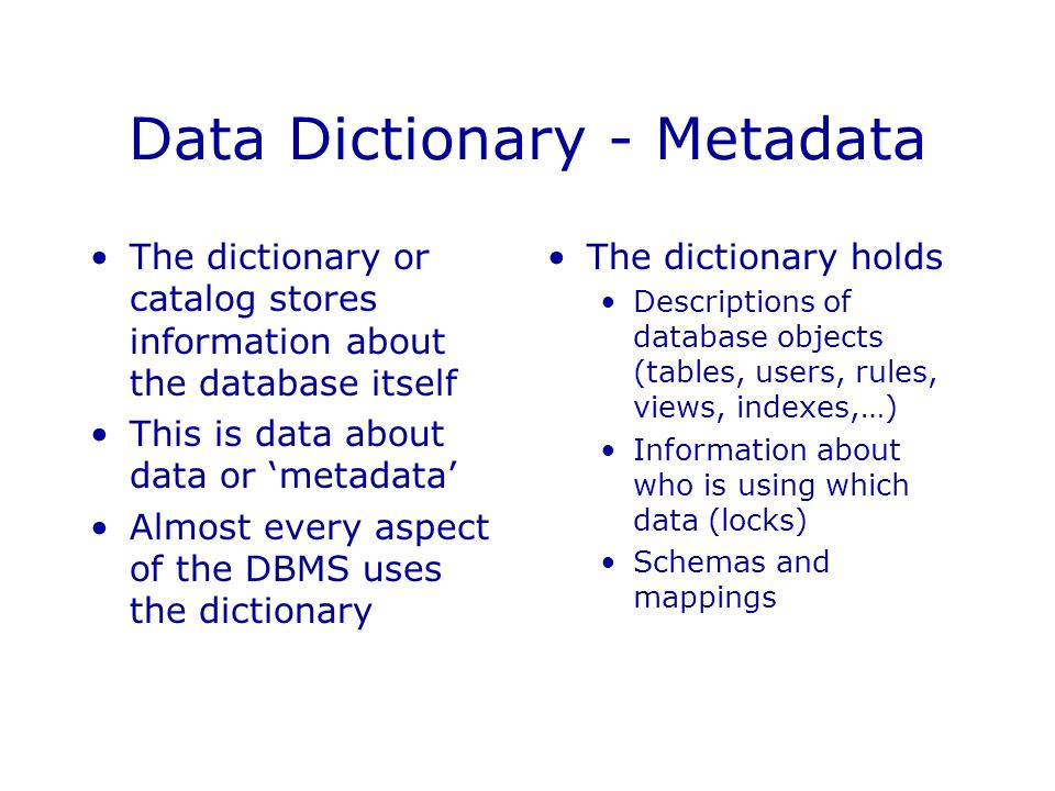 Introduction to database systems ppt download for Data dictionary