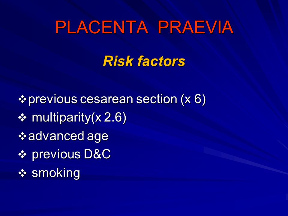 PLACENTA PRAEVIA Risk factors previous cesarean section (x 6)
