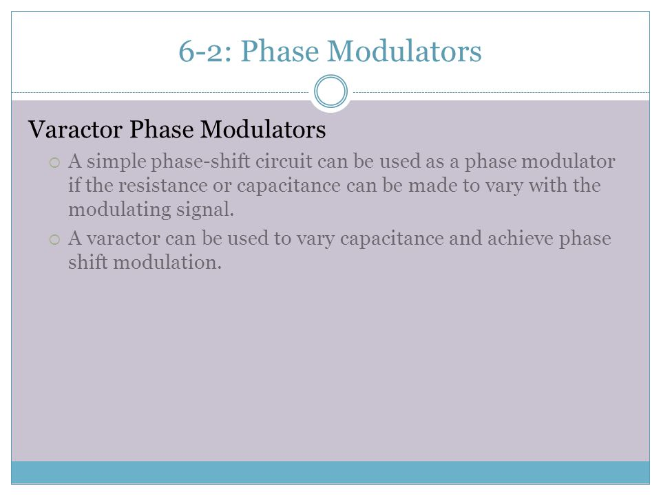 6-2: Phase Modulators Varactor Phase Modulators