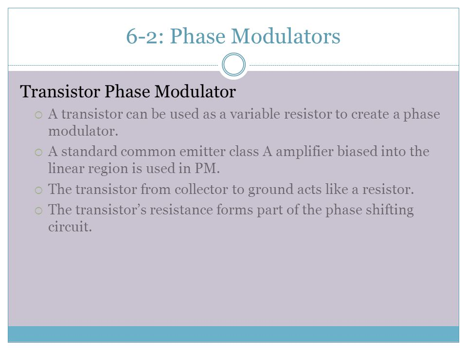 6-2: Phase Modulators Transistor Phase Modulator