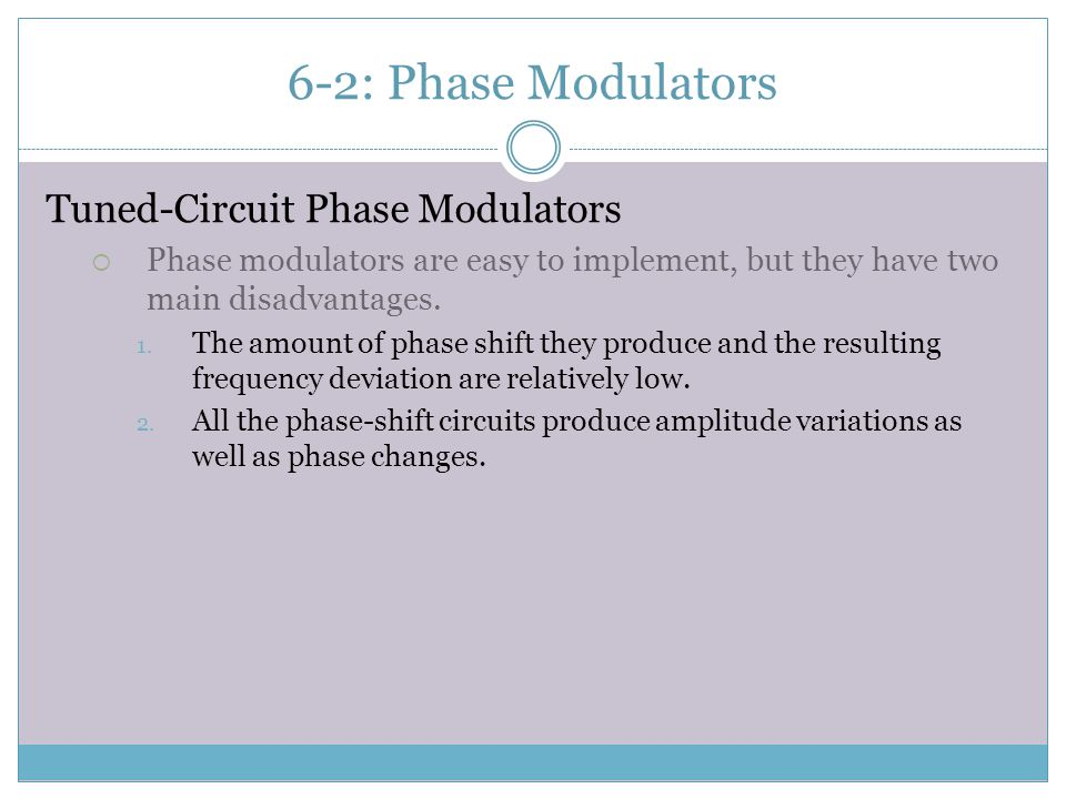 6-2: Phase Modulators Tuned-Circuit Phase Modulators