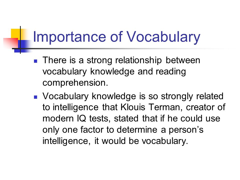 what is the relationship between vocabulary knowledge and reading