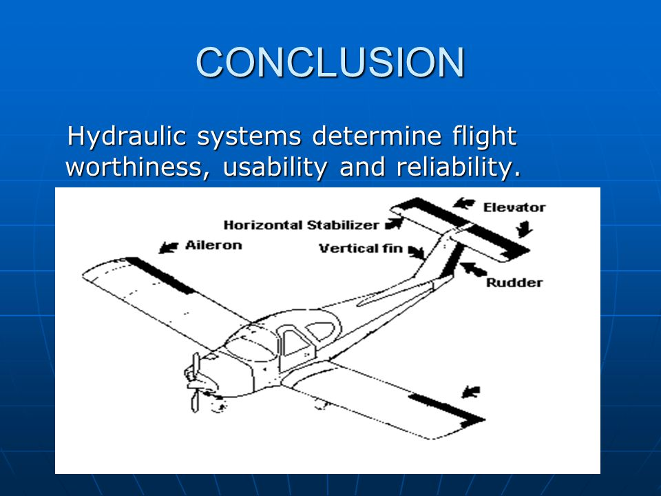 CONCLUSION Hydraulic systems determine flight worthiness, usability and reliability.