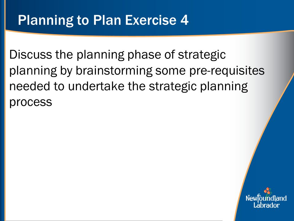Planning to Plan Exercise 4