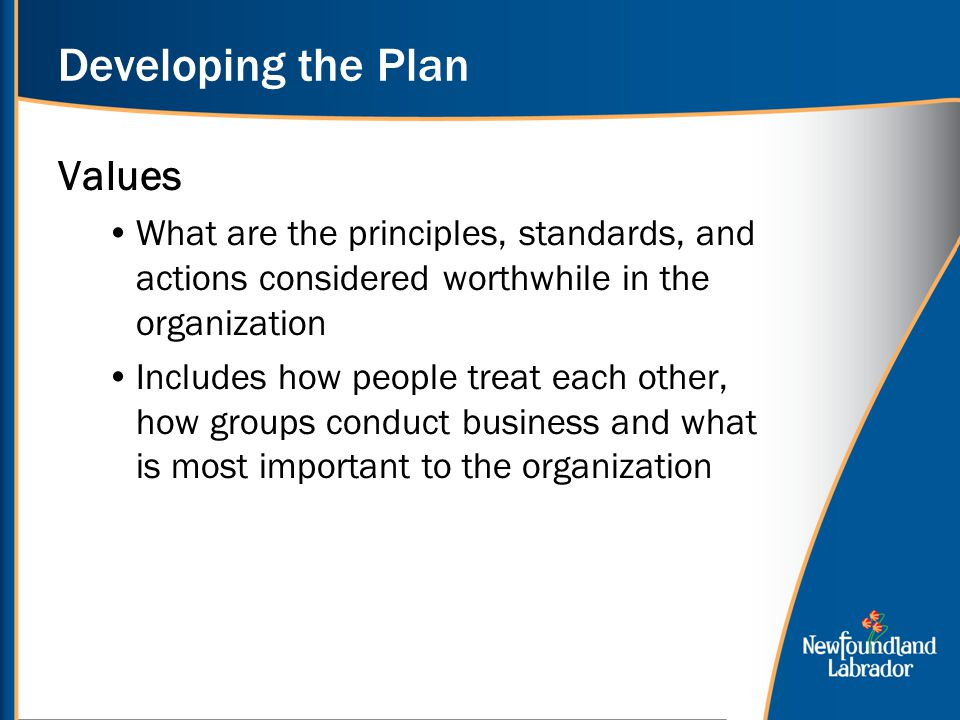 Developing the Plan Values