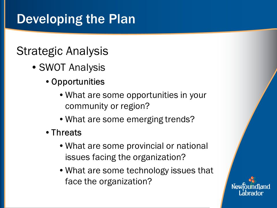 Developing the Plan Strategic Analysis SWOT Analysis Opportunities