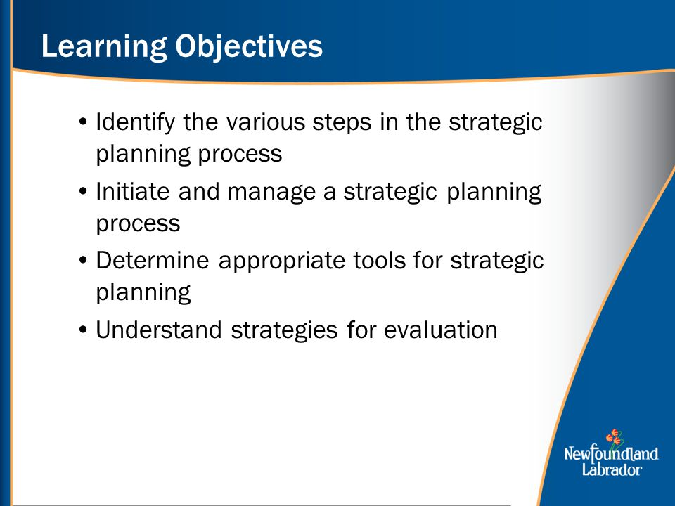 Learning Objectives Identify the various steps in the strategic planning process. Initiate and manage a strategic planning process.
