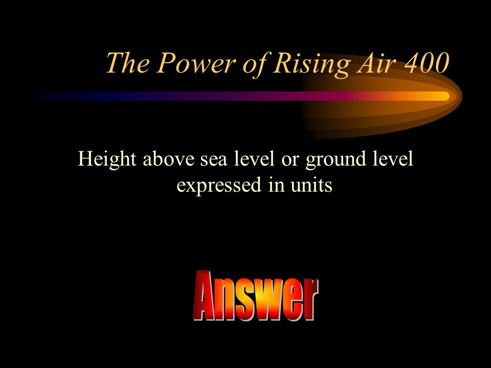 Height above sea level or ground level expressed in units