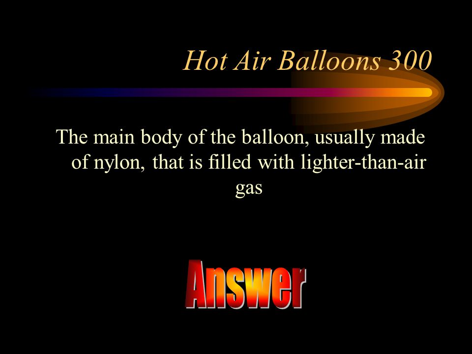 Answer Hot Air Balloons 300