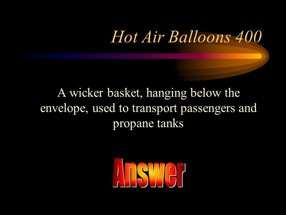 Answer Hot Air Balloons 400