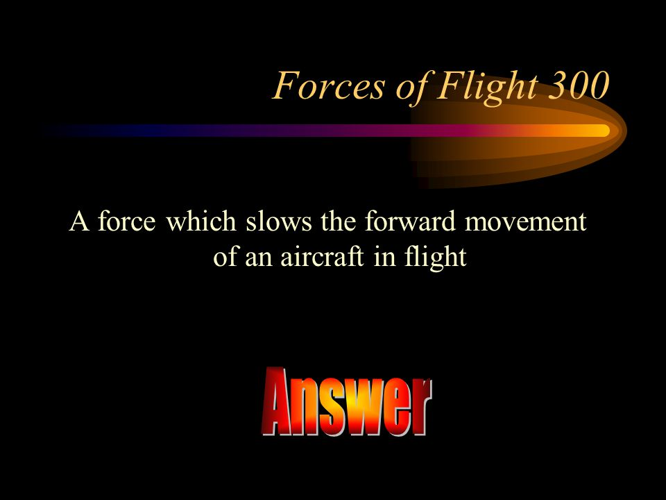 A force which slows the forward movement of an aircraft in flight