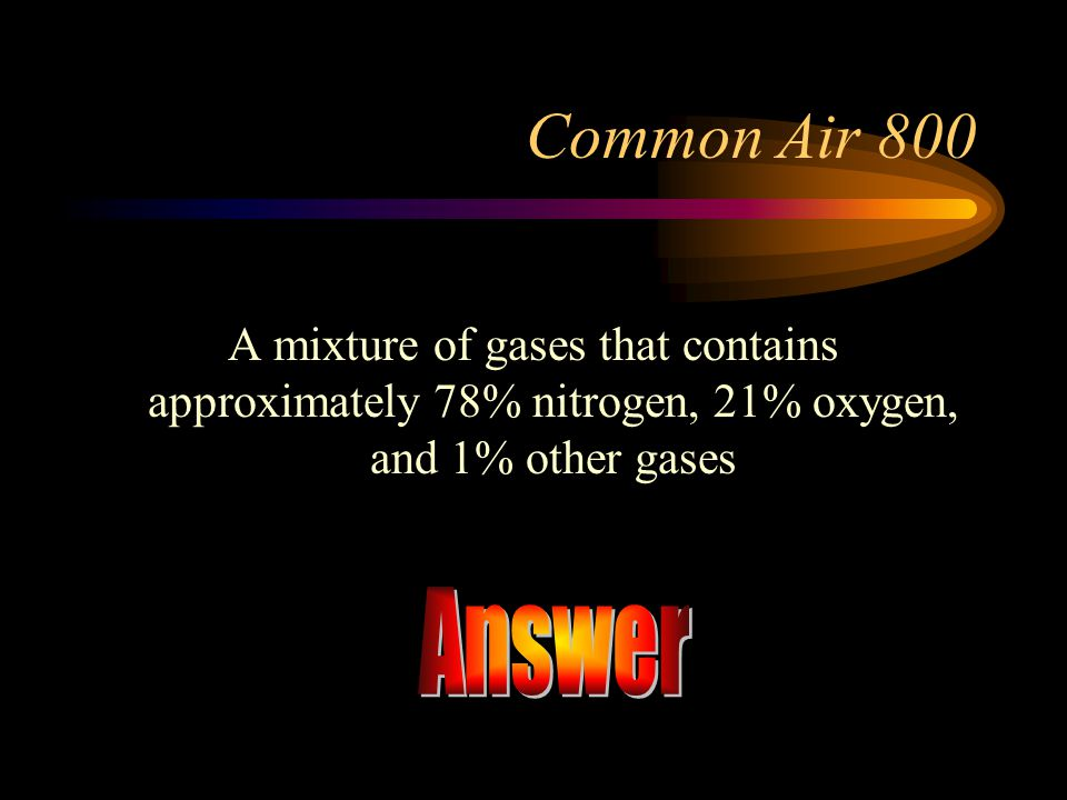 Common Air 800 A mixture of gases that contains approximately 78% nitrogen, 21% oxygen, and 1% other gases.