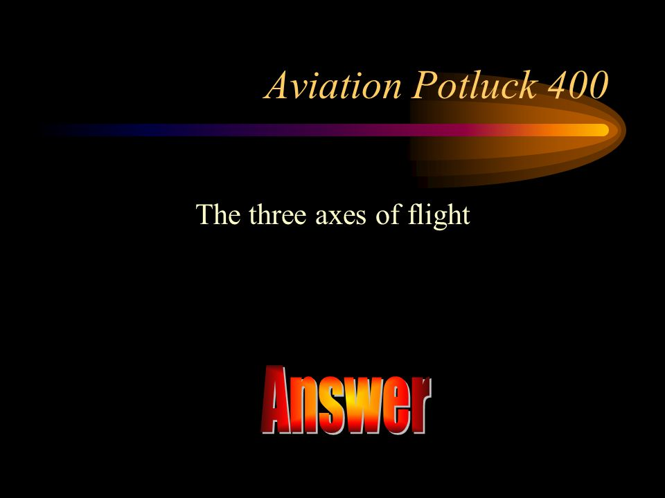 The three axes of flight