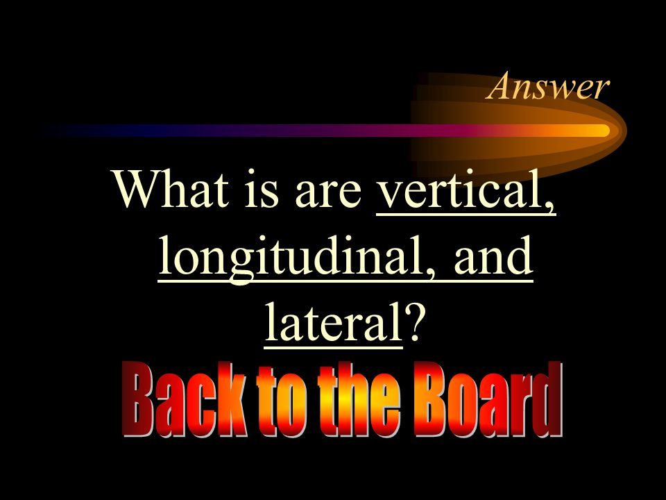 What is are vertical, longitudinal, and lateral