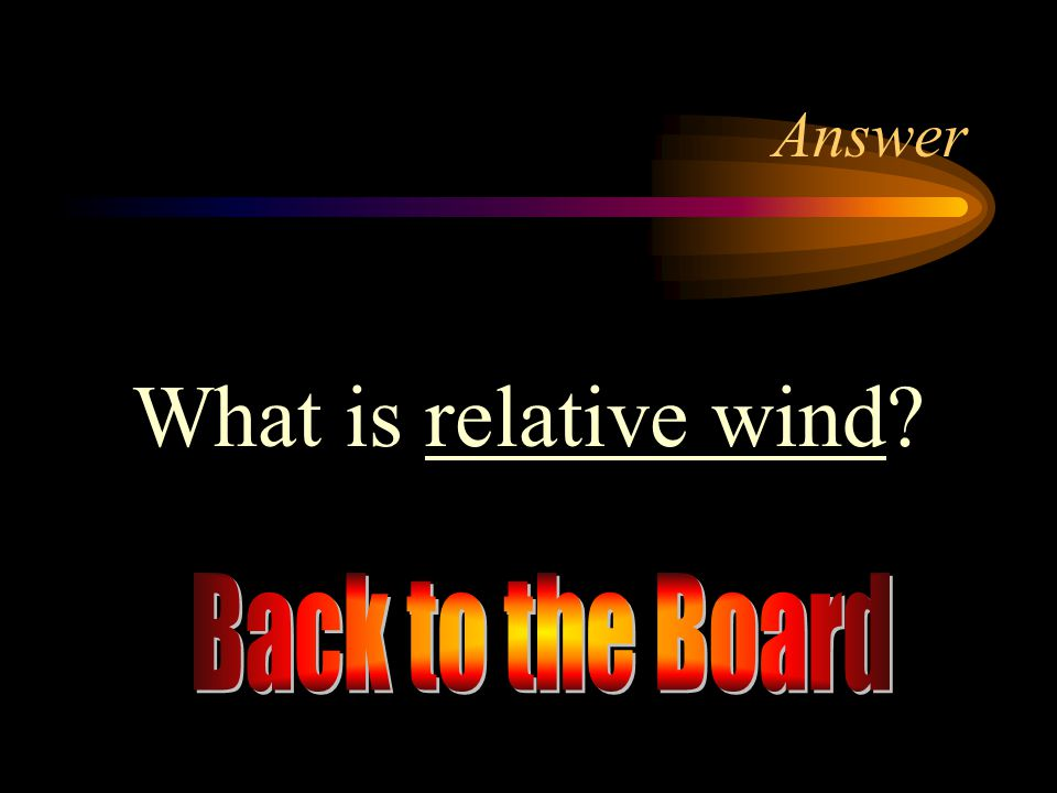 Answer What is relative wind Back to the Board
