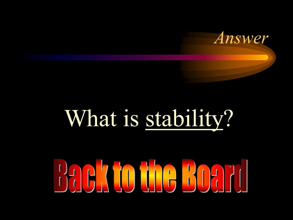 Answer What is stability Back to the Board