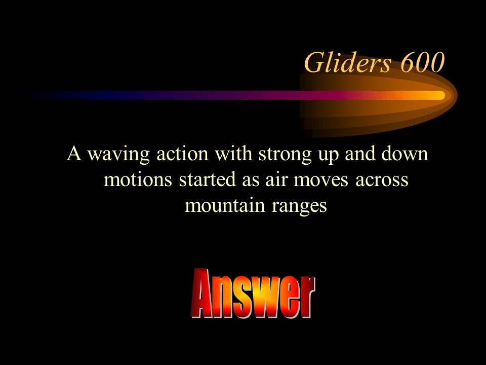 Gliders 600 A waving action with strong up and down motions started as air moves across mountain ranges.