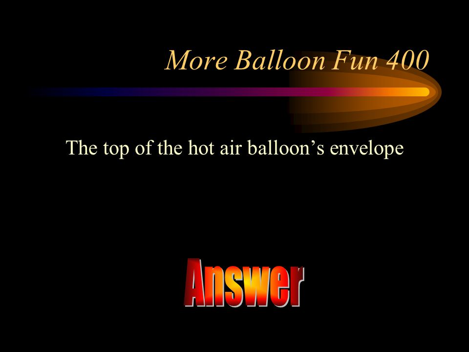 The top of the hot air balloon's envelope