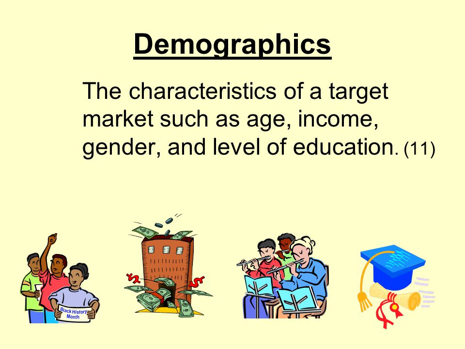 Demographics The characteristics of a target market such as age, income, gender, and level of education.