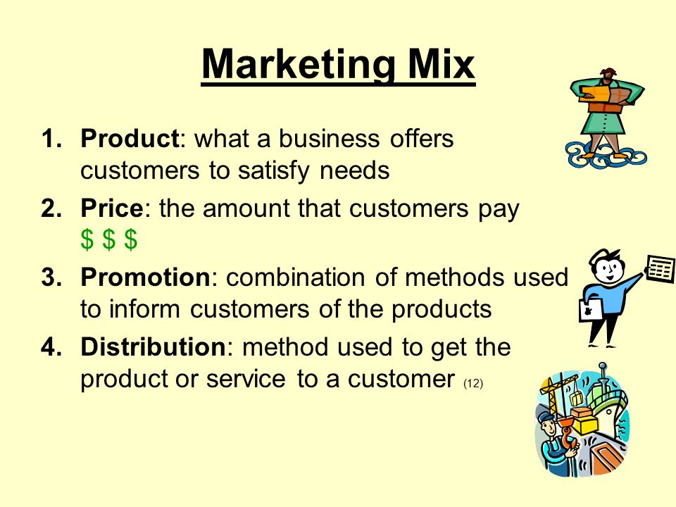Marketing Mix Product: what a business offers customers to satisfy needs. Price: the amount that customers pay $ $ $