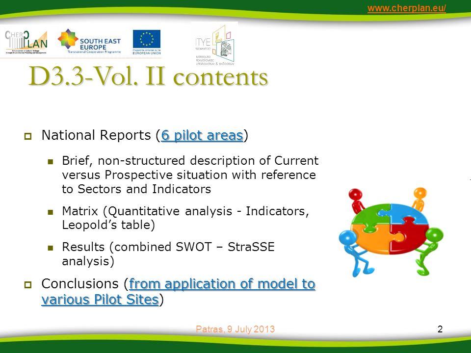 D3.3-Vol. II contents National Reports (6 pilot areas)