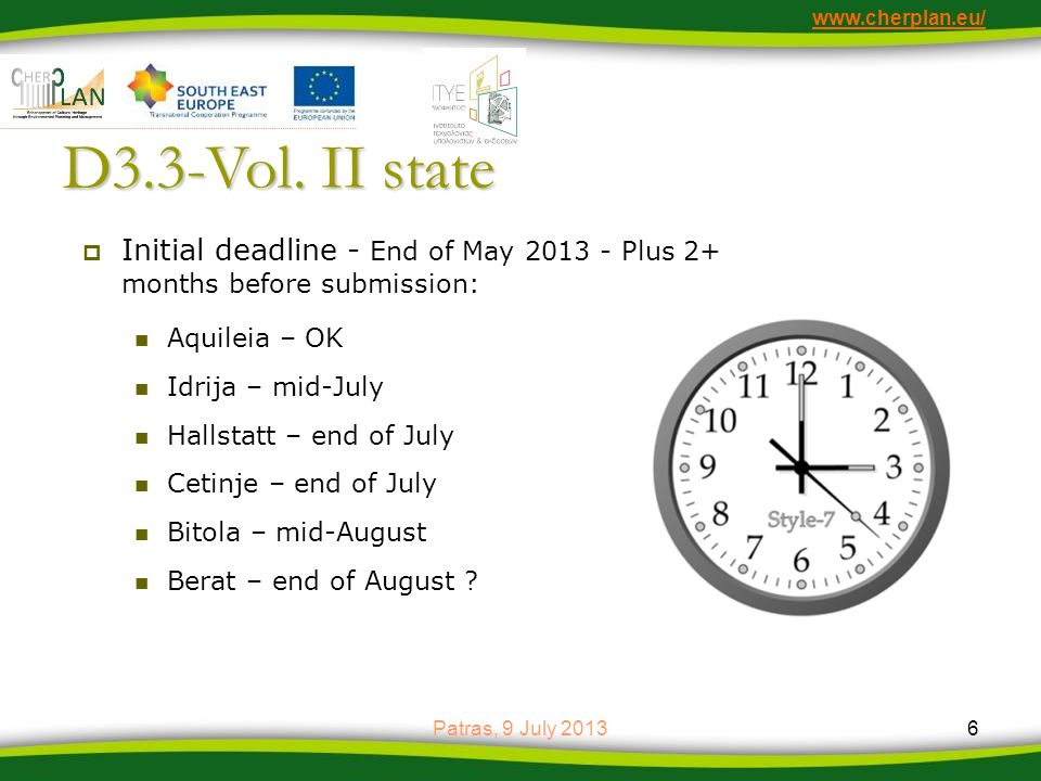 www.cherplan.eu/ D3.3-Vol. II state. Initial deadline - End of May 2013 - Plus 2+ months before submission: