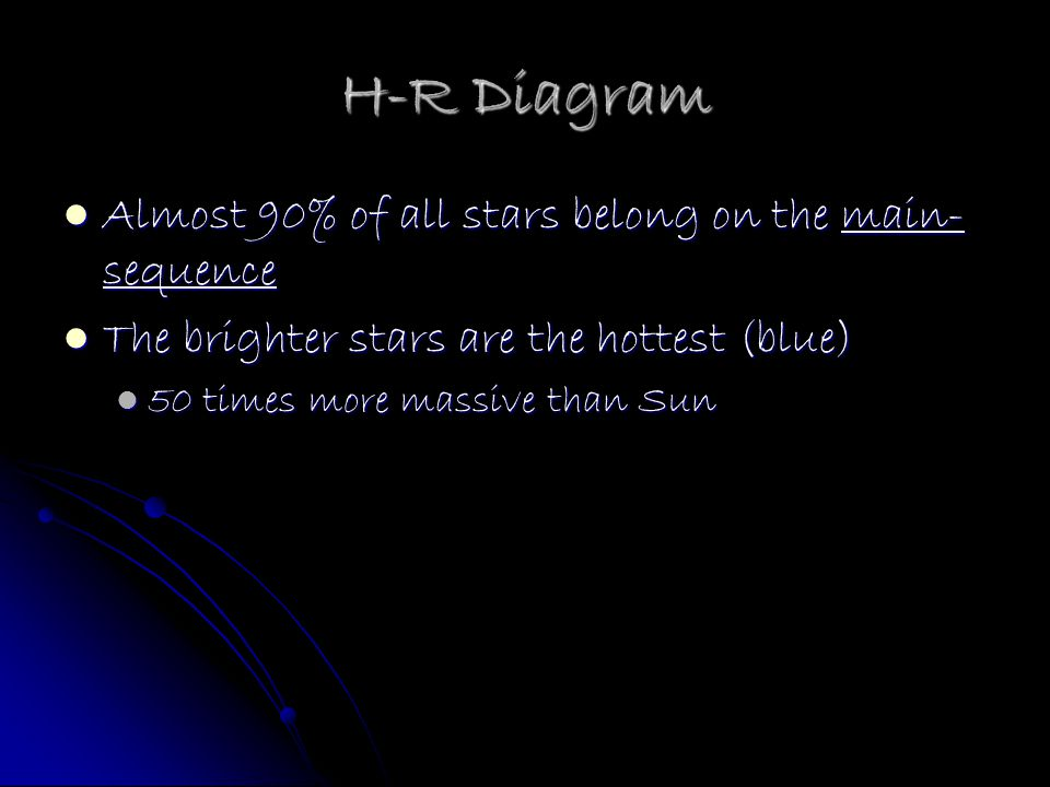 H-R Diagram Almost 90% of all stars belong on the main-sequence