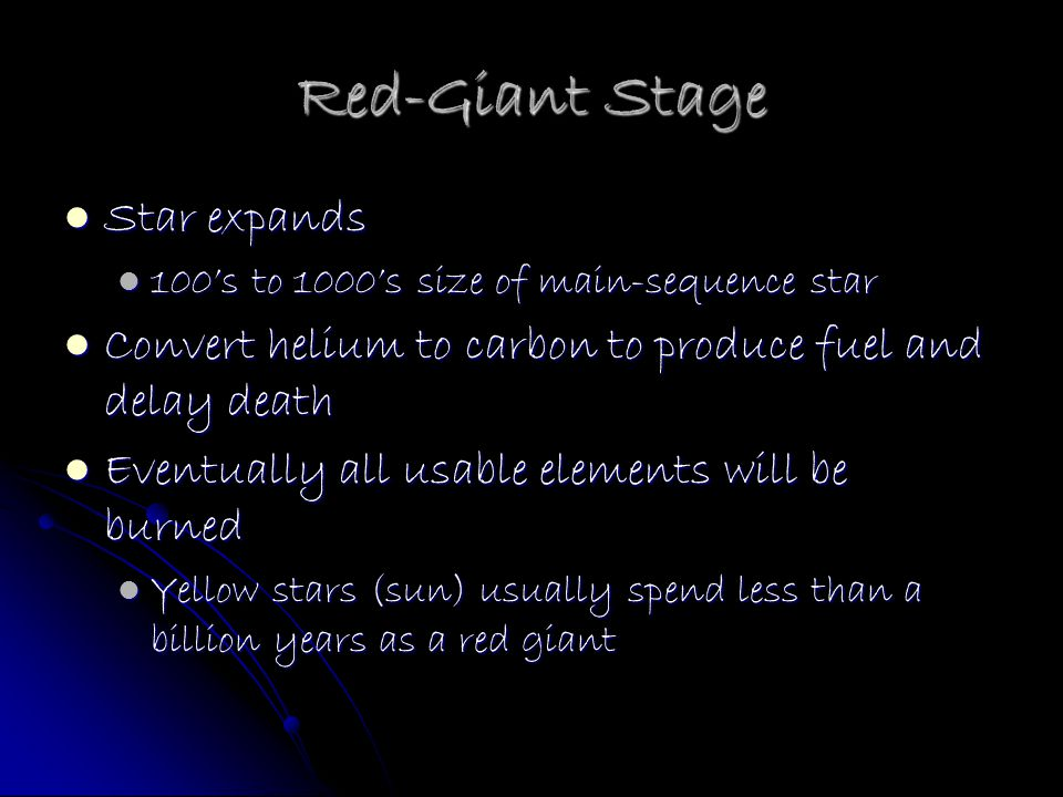 Red-Giant Stage Star expands
