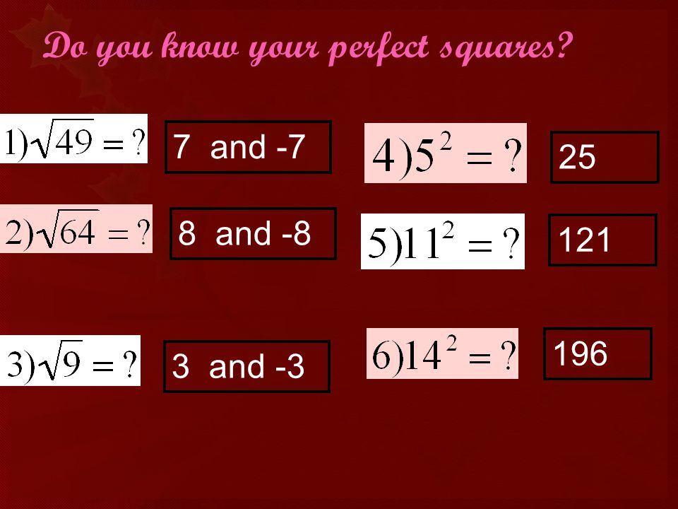 Do you know your perfect squares