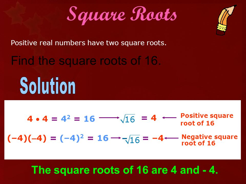 Square Roots Find the square roots of 16. Solution