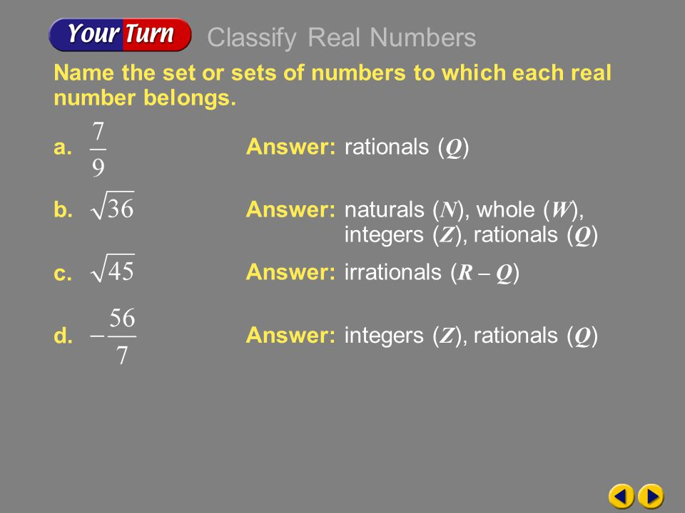 Classify Real Numbers Name the set or sets of numbers to which each real number belongs. a. b. c.