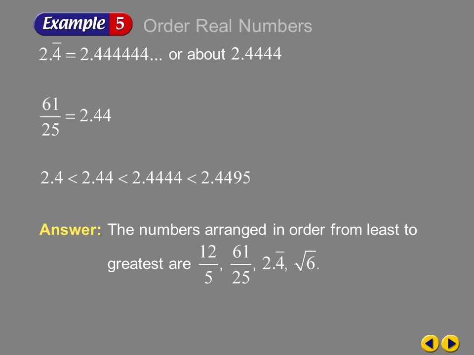 Order Real Numbers or about