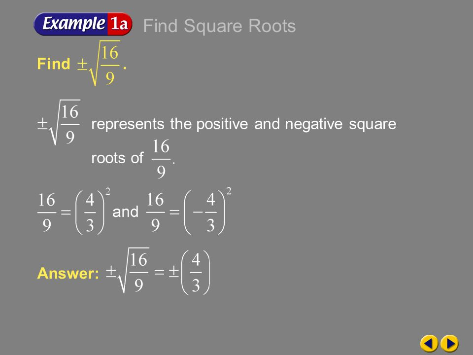 Find Square Roots Find . represents the positive and negative square roots of.