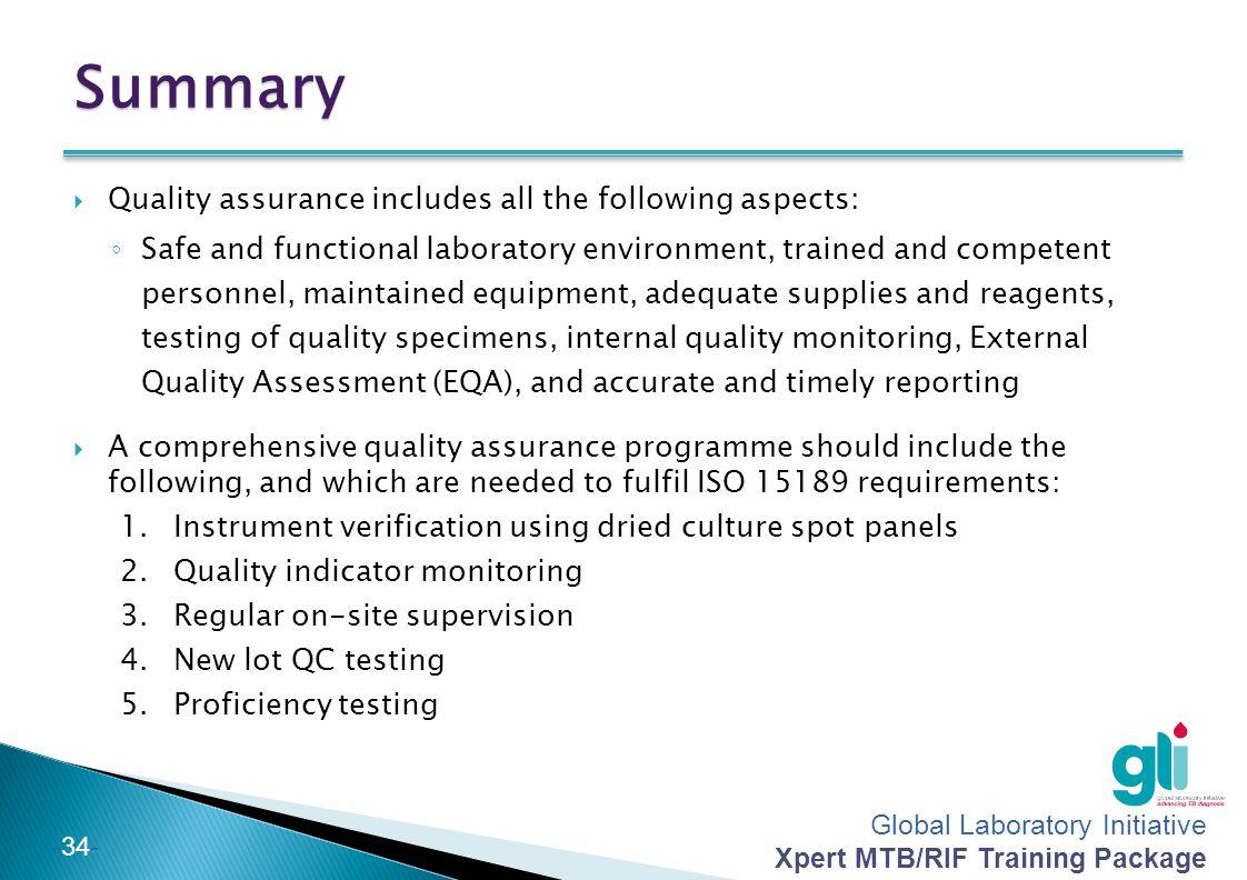 quality assurance summary