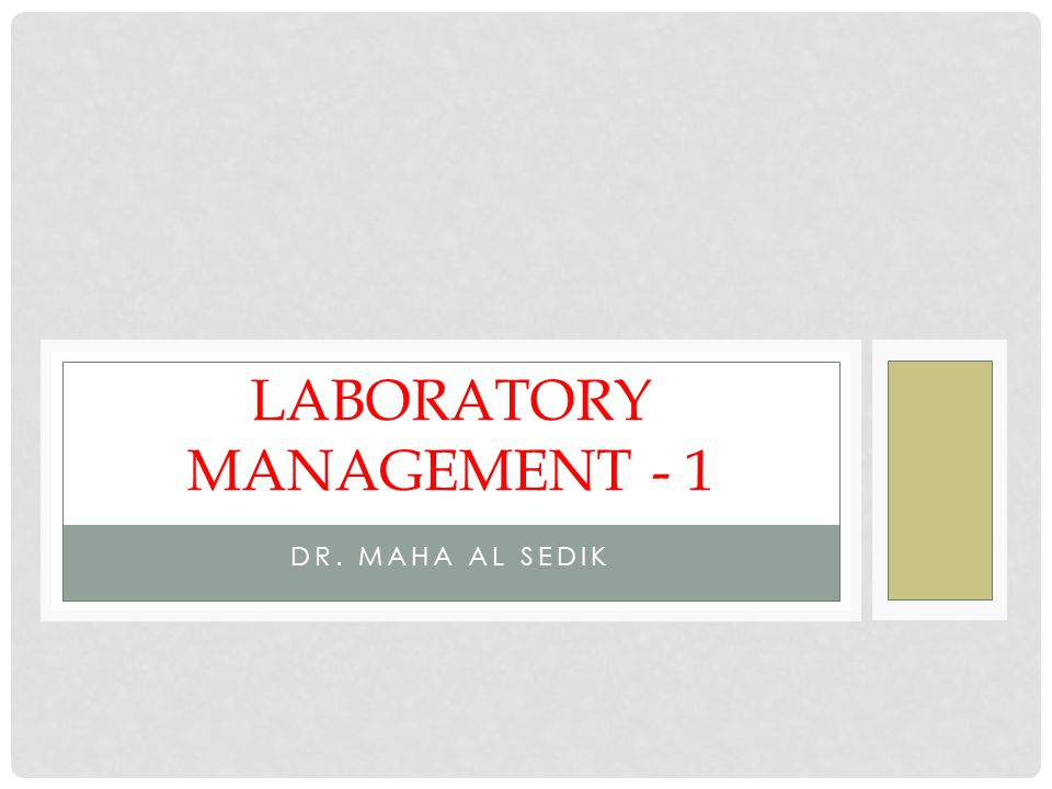 Laboratory Management - 1