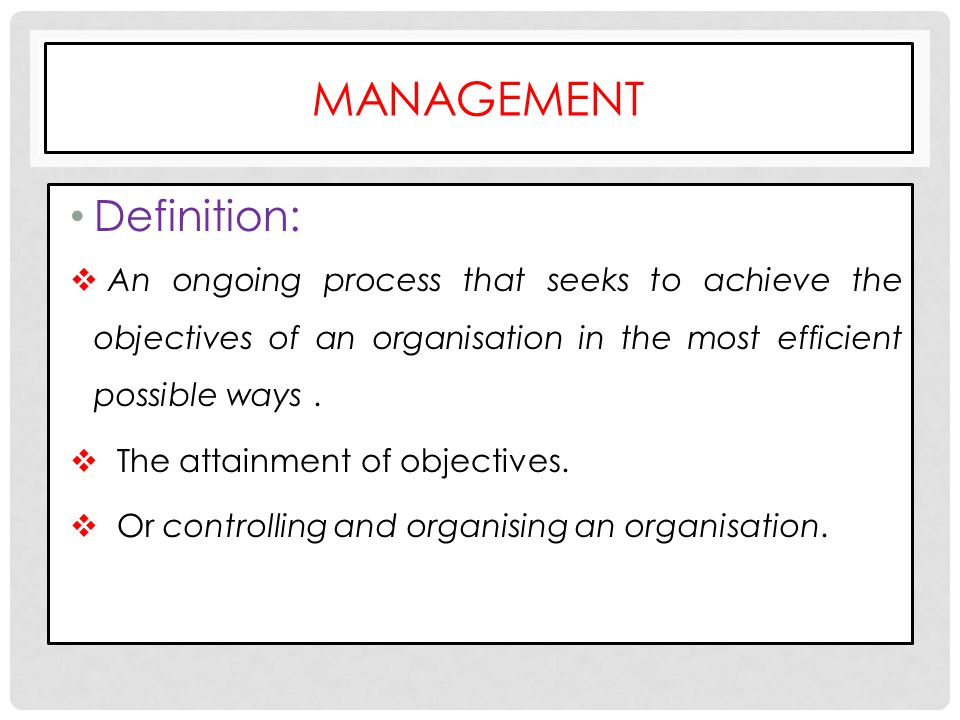 Management Definition: