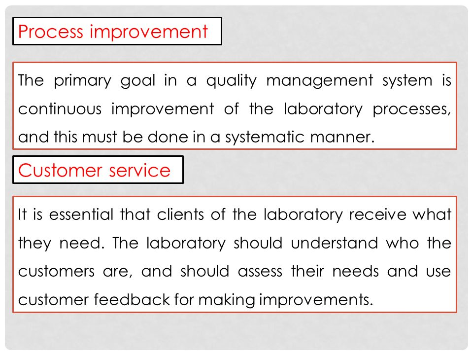 Process improvement Customer service