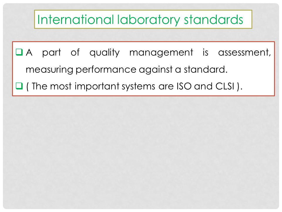 International laboratory standards