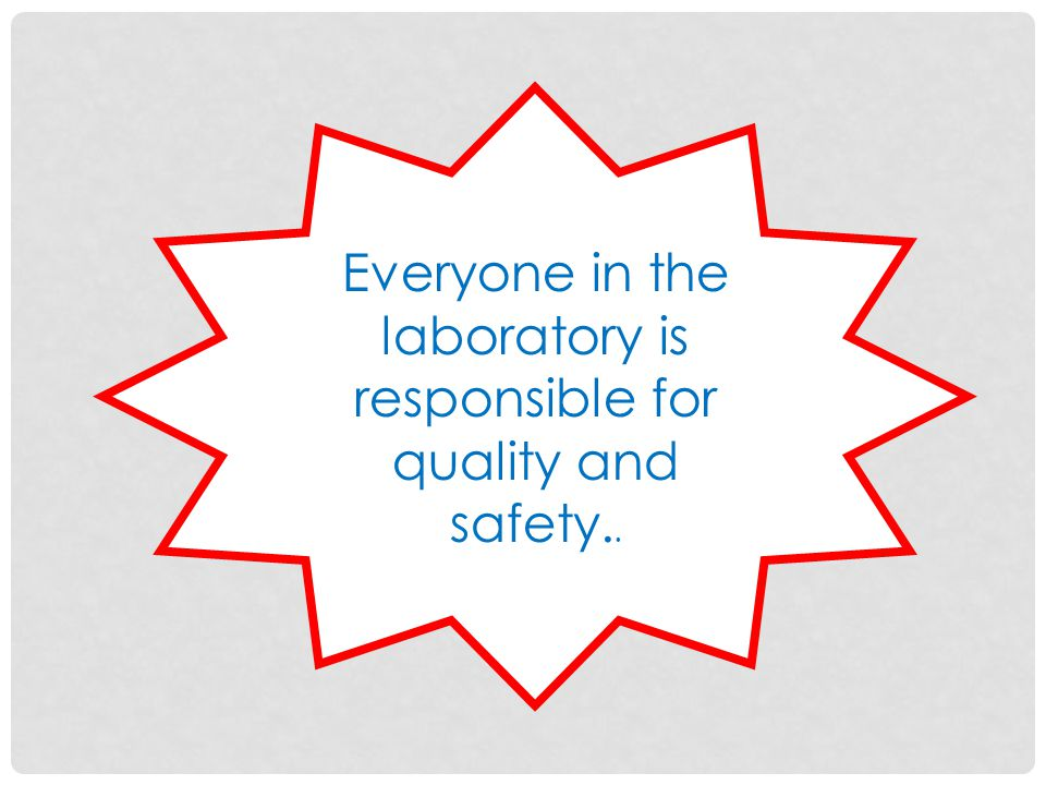 Everyone in the laboratory is responsible for quality and safety..
