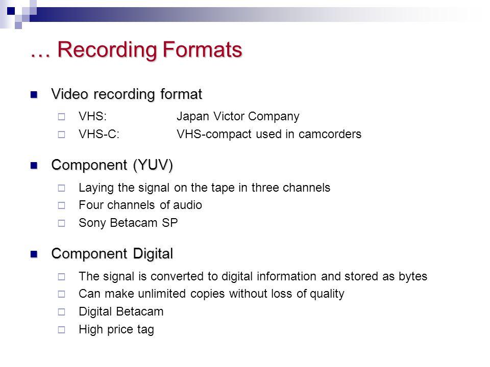 … Recording Formats Video recording format Component (YUV)