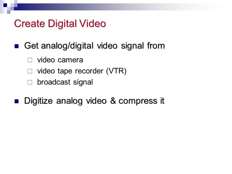 Create Digital Video Get analog/digital video signal from