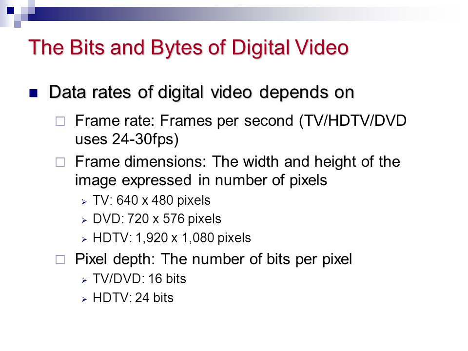 The Bits and Bytes of Digital Video