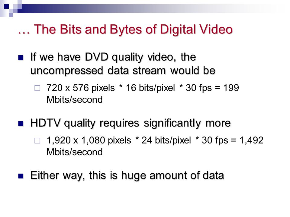 … The Bits and Bytes of Digital Video