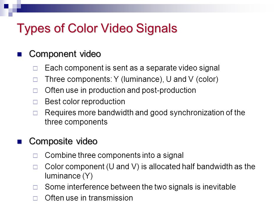 Types of Color Video Signals