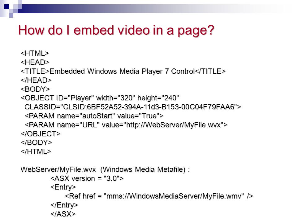 How do I embed video in a page