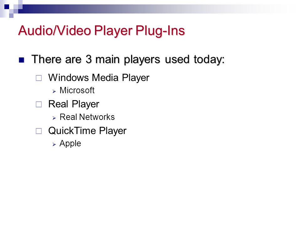 Audio/Video Player Plug-Ins